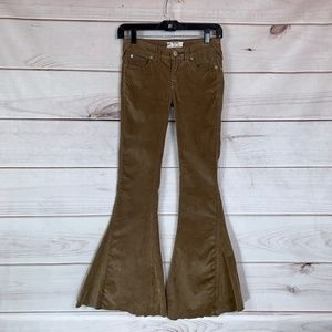 Free People Corduroy Flare Golden Brown NWOT